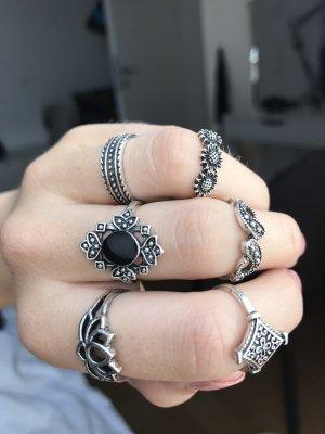 Silver Ring silver-colored-black