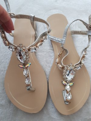 Strapped High-Heeled Sandals silver-colored