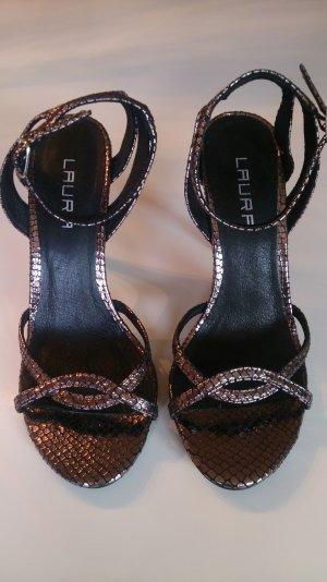 Schöne Sandaletten im Metallic-Look wie neu!!!