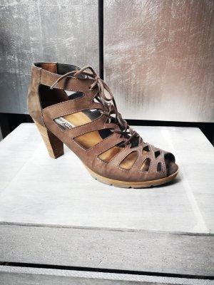 Schöne Sandaletten von Paul Green Gr 5 38 Echtleder Sandalen braun Römersandalen High Heels