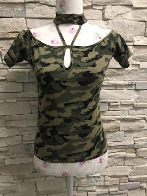Batik shirt zwart-groen-grijs