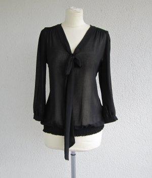 Schöne schwarze Bluse mit Schleife von Atmosphere in Gr. 40