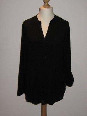 Schöne schwarze Bluse mit Stehkragen   edc XL