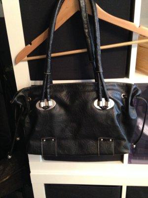 014d882f3deb5 Schöne schwarze Tasche mit Henkeln mittelgroß