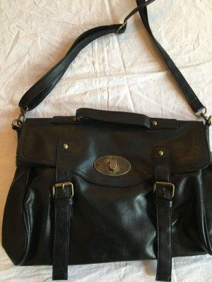 Schöne schwarze Umhängetasche, Tasche mit Druckknopf und Knebelverschluss
