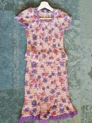 Ensemble en tricot violet-bleu violet coton