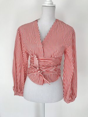 H&M Wraparound Blouse red-white