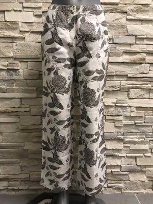 Alba Moda Pantalón de lino blanco-gris