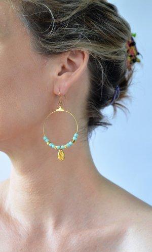 schöne Sommer Ohrringe , Boho Style, grün Stein aus Achat und gold Muschel 4cm