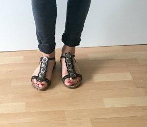 Sandalen met bandjes nude-zwart