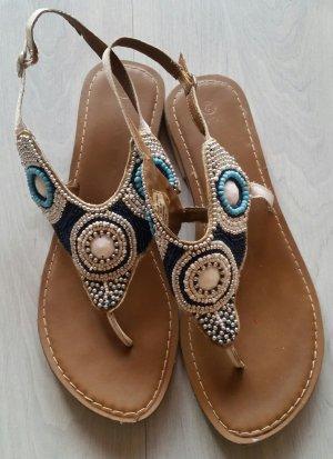 High-Heeled Toe-Post Sandals white-blue