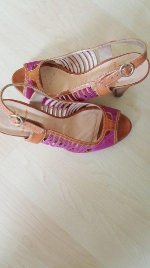 Sandalo con cinturino e tacco alto viola-sabbia