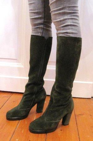Schöne Stiefel Grün Wildleder Größe 38 High Heel