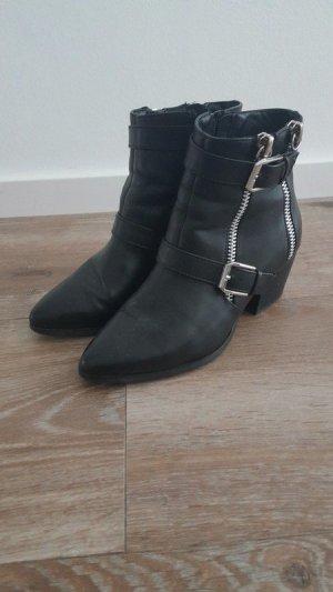 Zara Booties black-silver-colored
