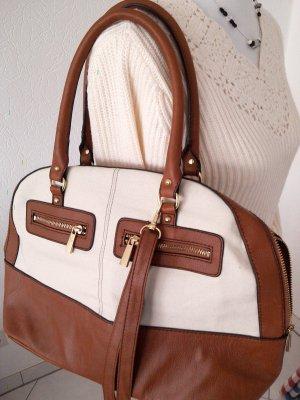 schöne Tasche, Shopper,braun,weiß,Handtasche