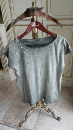 Schöne Tshirt khaki mit perlen wie neu!
