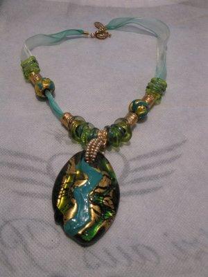 Schöne Türkisgrüne handgefertigte Glaskette aus Murano (Italien), Einzelstück