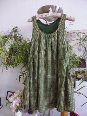 Apricot Blusa de túnica verde bosque-marrón arena