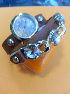 Watch With Leather Strap cognac-coloured imitation leather