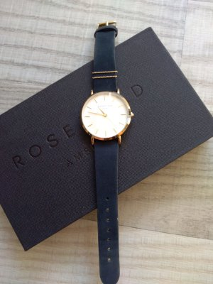 ROSEFIELD Watch With Leather Strap gold-colored-dark blue