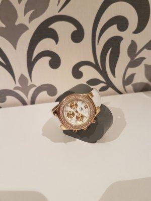 Schöne Uhr, weiß-gold farbig
