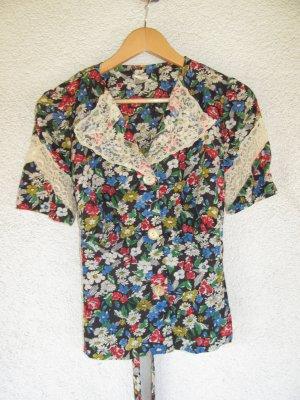 schöne Vintage Bluse Retro Gr. 40 42 Spitzenbluse Blumenbluse
