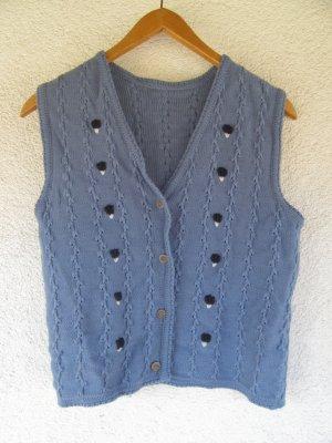 schöne Vintage Weste blau Tracht Gr. M Wolle