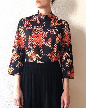 Vintage Stand-Up Collar Blouse multicolored