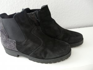 Waldläufer Zipper Booties black-silver-colored leather