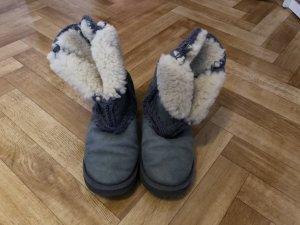Mou Stivale da neve grigio scuro-beige chiaro Lana