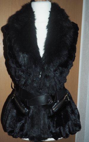 Smanicato di pelliccia marrone scuro-nero Pelliccia ecologica