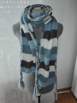 Schöne,weiche kuschelige gestreifte Winterschal & Handschuhe Set in hellblau, weiß & Grau Farbe