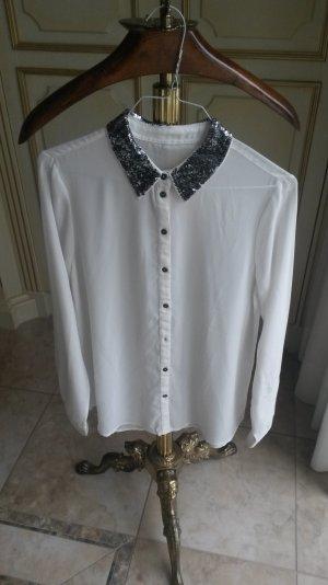 schöne weiße bluse mit Pailletten Kragen wie neu!