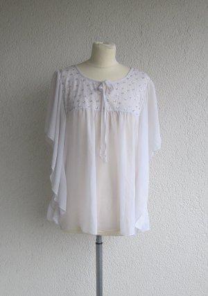 Schöne weiße Bluse mit Spitzendetails in Gr. 42/44