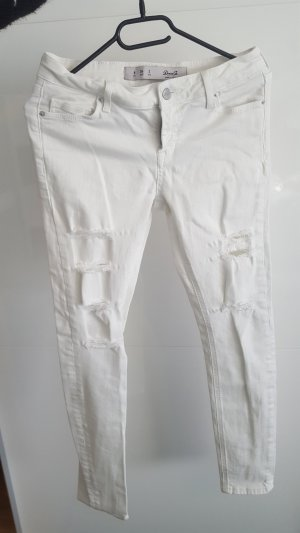 schöne weiße cut out jeans
