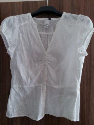 Schöne weiße Kurzarm-Bluse von H&M in Größe 40
