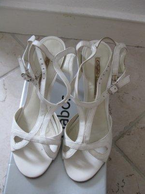 Schöne weiße Ledersandale, EU38 (passt ach für EU37)