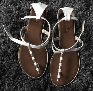 Sandalen met bandjes wit-goud