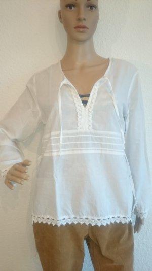 Schöne weiße Tunika-Bluse mit Häkelrand 36/38