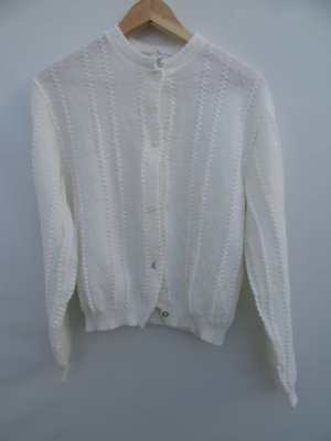 Vintage Lang gebreid vest wit