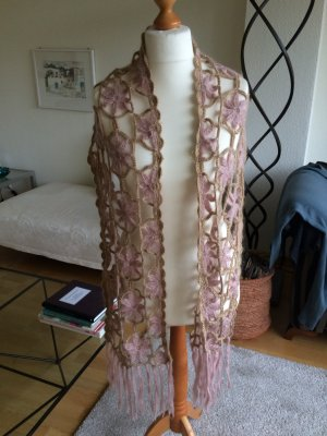 H&M Crochet Scarf dusky pink-gold-colored wool