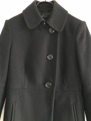 Schöner Benneton Mantel schwarz Gr. 36, 80% Wolle