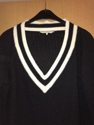 C&A V-Neck Sweater white-dark blue