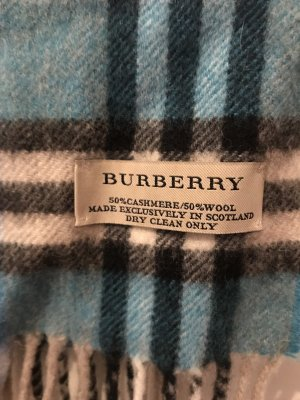 Burberry Cashmere Scarf cornflower blue-white