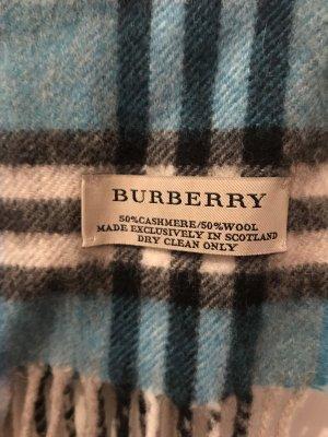 Burberry Bufanda de cachemir azul aciano-blanco