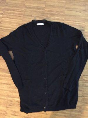 schöner Cardigan / Strickjacke von Zara mit Zierkante, schwarz, Gr L