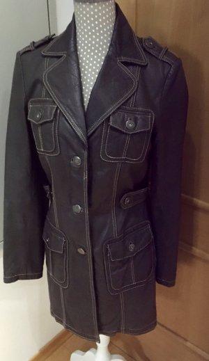 17&co Manteau en cuir brun foncé