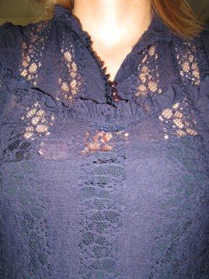 schöner dunkelblauer Spitzenoberteil mit passenden Top darunter, D34-36