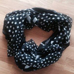 Schöner gepunkteter Schal mit Schwalben in Schwarz Weiß