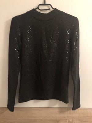 Zara Jersey de cuello alto negro-gris antracita